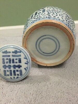 Old Chinese Blue White Porcelain Pottery Jar