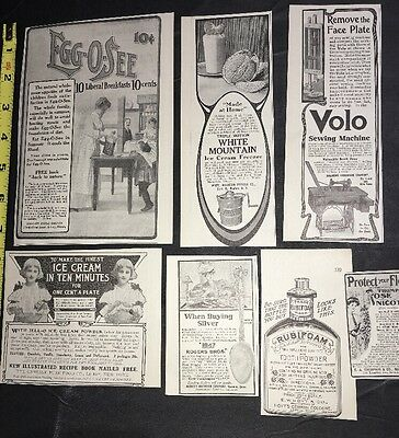 Lot Of 7 Food Ice Cream Beauty Aids Ads 1906 Original Vintage Pretty Girl &