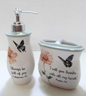 FLORAL BATH LOTION & Toothbrush Holder Butterfly Bible Quotes Psalms  Philippians