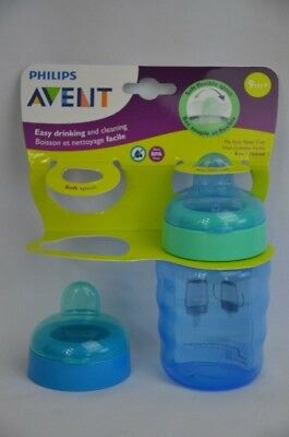Philips Avent My Easy Sippy Cup 9 Ounce Blue Stage 2 Extra Lid Nipple NEW
