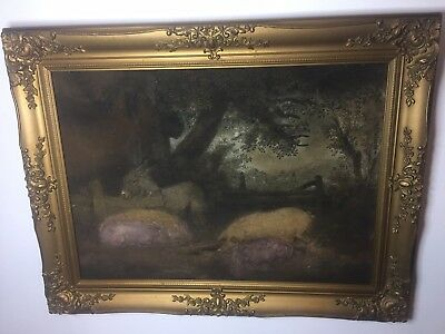 19th Century Sand Picture Painting, Farmyard Scene with Pigs and Donkey. Gilt Ge