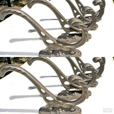 8 COAT HOOKS door heavy solid brass furniture antiques vintage old style 4 ""