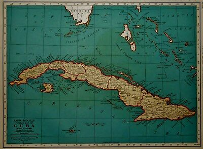 Vintage 1939 World War WW II Era Atlas Map Cuba Guantanamo Bay West Indies L@@K!