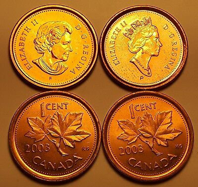 Lot of ALL 4 Types 2003 Non-Magnetic & Magnetic Canada 1 Cent Penny Coin AU