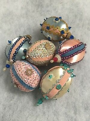 Vtg LOT Handmade Shabby Chic BEAD ART Easter Eggs Satin Sequin PASTELS
