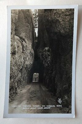 1929 Real Photo Postcard Tunnel Needles Road Black Hills Postmarked Hermosa SD