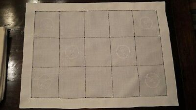 Vintage 8 Off White Linen Placemats Embroidered with hemstitched edge. Excellent