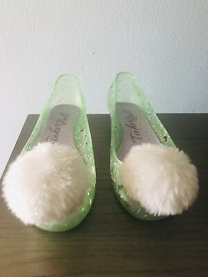 DISNEY STORE TINKERBELL FAIRY GREEN POM POM KIDS Small HEEL SHOES 13/1 NWT