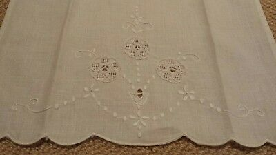 Vintage Linen Cream off white colored Embroidered Hand Towel Tea Towel