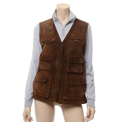 Orvis Brown Suede Leather Vest Cargo Travel Utility Waistcoat Lined Women's M