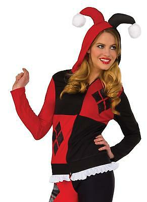 Harley Quinn Fitted Hoodie DC Comics Fancy Dress Up Halloween Adult Costume
