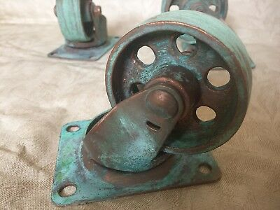 "Copper green patina 3"" metal casters set of 4 FREE SHIPPING"