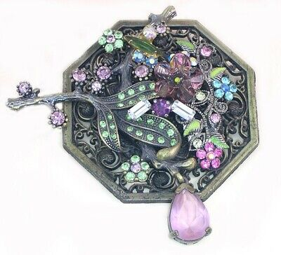 Large Handcrafted Steampunk Shabby Chic Upcycled Pink/Purple/Green Brooch Pin