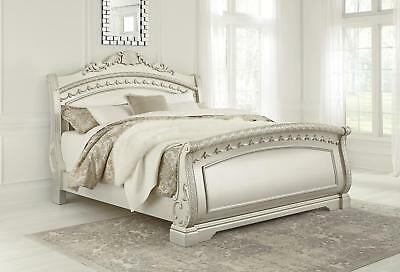 Cassimore Queen Sleigh Bed in Pearl Silver  PROMO