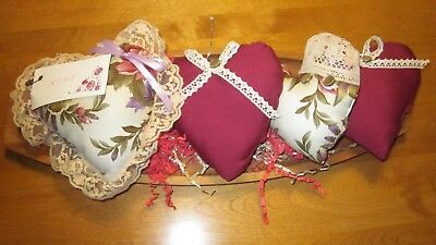 Primitive Valentine's Day Maroon Floral/solid Heart Bowl Fillers   Set Of 4