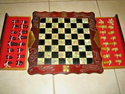 Vintage Oriental Asian Inlay Chess Set w/ 32 Soapstone(?) Pieces-Chinese/Japan