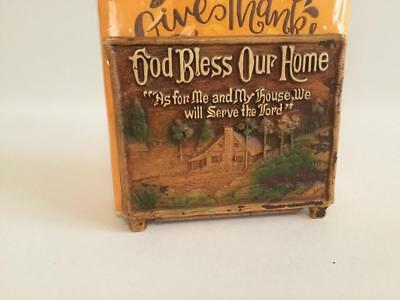 Vintage Wood Look God Bless Our Home Napkin Holder Country Cabin in the Woods