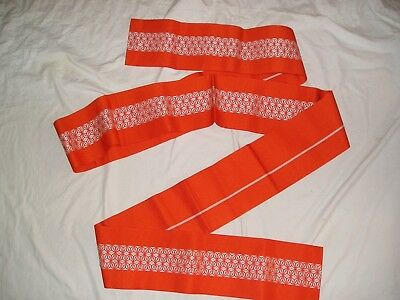 HAKATA-ORI OBI Orange White SILK STAR WEAVE NWT Made in Japan