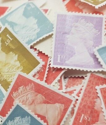 100 1st Class Stamps Unfranked No Gum Off Paper Mix colours More of the Red AM05