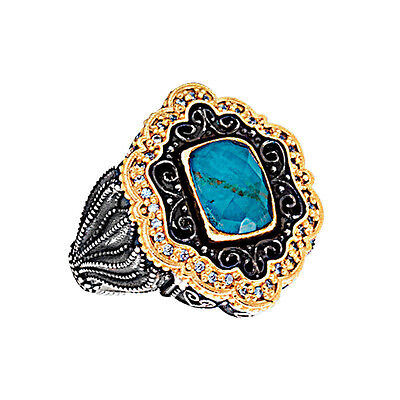 D313 ~ Sterling Silver Doublet Cocktail Ring with Zircons