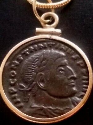 Constantine The Great Real Ancient Roman Coin GoldFilled Necklace Charm Pendant