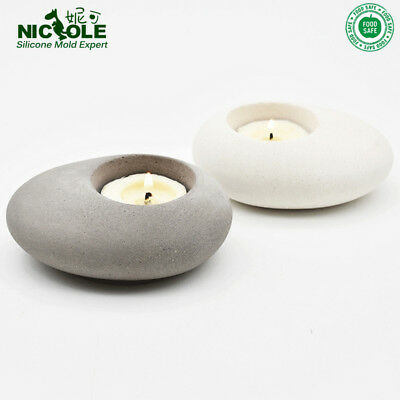 Cement Candleholder Silicone Mold Concrete Tea Light DIY Cobblestone Handmade