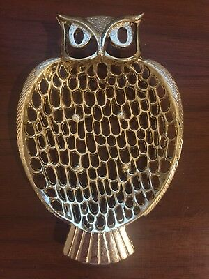 Vintage Mid Century Golden Gold Owl Soap Holder Metal Vanity Dish Tray