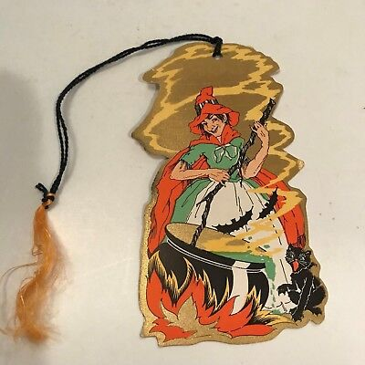 Vintage Cardboard Halloween Bridge Tally Card Witch Cat Bat Whitney 1920's x