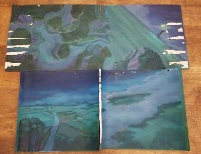 SNOW WHITE Happily Ever After Pan Backgrounds 4 pc LOT Water Damaged But Cool