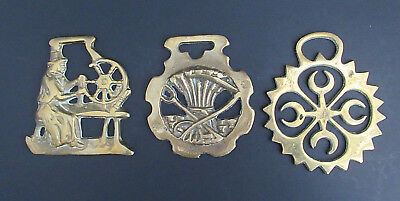 3 Lot Vintage Horse Bridle Harness Brass Medallions