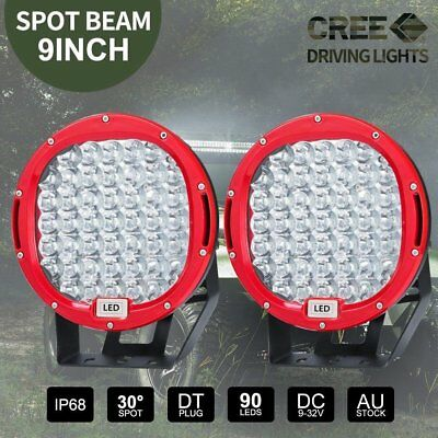 PAIR 9 inch LED SPOT Driving Lights Round CREE Spotlights 12V 24V RED 99999W AU