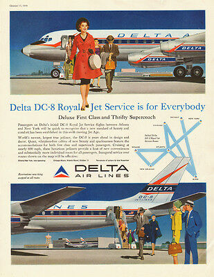 1959 vintage travel AD, Delta Airlines DC-8 Royal Jet Service 122213