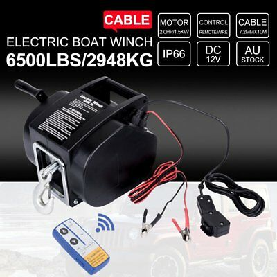 6500LBS Remote Electric Boat Winch Detachable 10m Steel Cable 12V Portable AUS