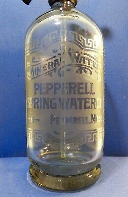 Early 20Th C Vint Etched Clear Glass Pepperell Ma Seltzer  Water Bottle, W/top