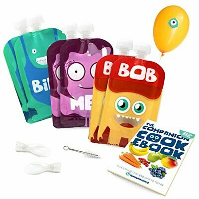 Yummy Monsters Reusable Food Pouch - Pack of 6 - 5 oz / 140 ml Size - 2 Spoons..