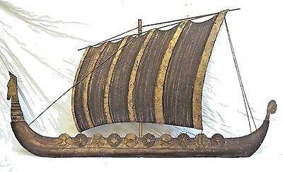 Mid Century Modern Extra Large Patinated And Gilt Metal Viking Ship