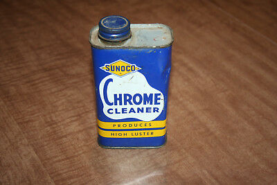 Vintage Empty 8oz Sunoco Chrome Cleaner Can Advetising Tin See Pix!!