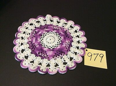 """9"""" Round White Doily With Variegated Purple Trim & Center Hand Crocheted Vintage"""