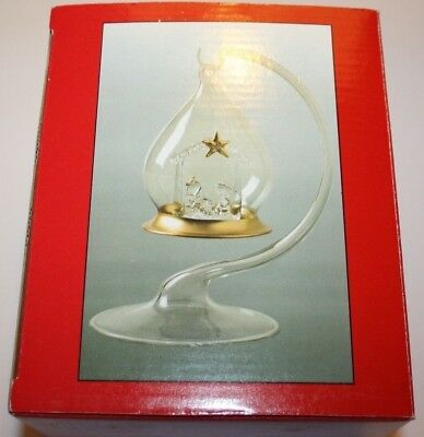 Glass Clear Nativity Ornament Glass Globe Glass Base Hang or Stand New