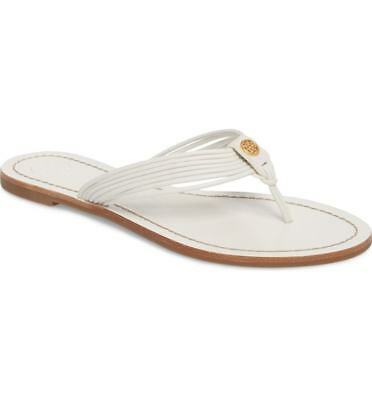 a04cd7d6a54 TORY BURCH SIENNA Thong Leather Flip Flop Sandal White Flat Logo Women s  Size 9 -  94.99
