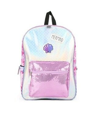 """16"""" Mermaid Backpack with Sequin Pocket"""