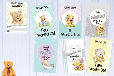 "Baby Milestone Cards Teddy Bears Unisex Pack of 34 Unisex  6""x4""Baby Shower Gift"