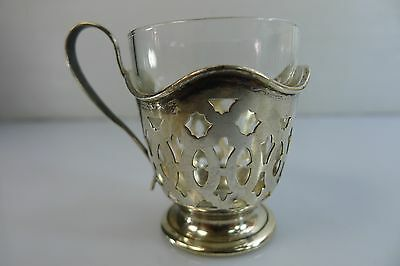 Antique/vintage Lot Of 6 Silver Small Cup Holders With Their Original Glass Cups