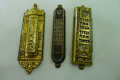 lot of three rare late 1940's Israel made Judaica brass Mezuzah scroll cases