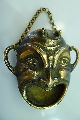 Solid Brass, Devil Face Heart Shaped Mouth Wall Hanging Decoration Or Ashtray ?