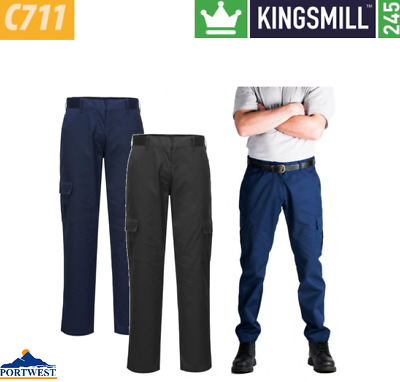Portwest Trouser Slim Fit Leg Combat Polycotton Cargo Pocket Work Wear C711