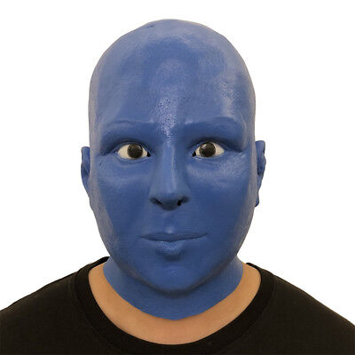Cosplay Blue Alien Melting Face Overhead Latex Costume Prop Scary Mask Toy