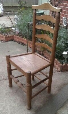 Rare 18th Century Solid Oak Ladder Back Chair DELIVERY POSSIBLE