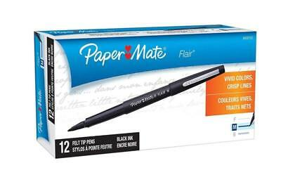 Mate Flair Felt Paper Tip Pens, Medium Point (0.7mm), Black, 12 Count