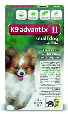 K9 Advantix II for Small Dogs 4-10 lbs. Two Month Supply, 2 Doses